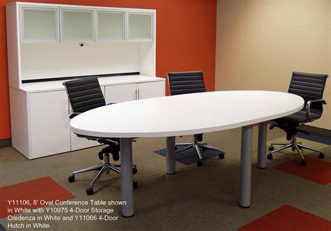 White Oval Meeting Table Oval Conference Table In White Maple Or Mocha 8 Length See Other Sizes