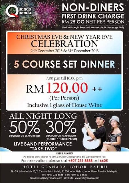 new year dinner in johor bahru new year celebration at quando quando hotel