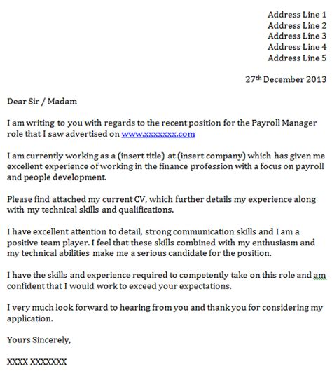 payroll manager cover letter exle icover org uk