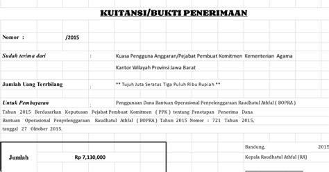 contoh format kwitansi bop paud tk kb tpa versi berkas sekolah
