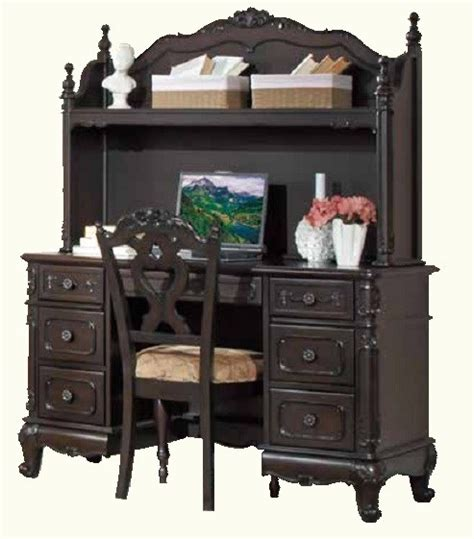 Home Elegance Cinderella Black Writing Desk With Hutch Black Writing Desk With Hutch
