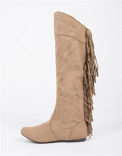 knee high fringe boots boots shoes heels wedges sandals flats and boots