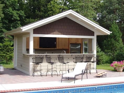 Plans For Pool House by Build A Bar Into The Side Of Your Pool House Where Family