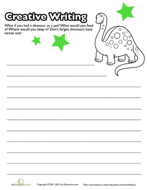 Creative Writing Worksheets For Grade 7 by Worksheets Creative Writing Prompt Pet Dino
