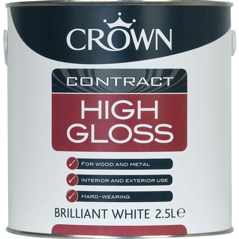 gloss paint crown contract high gloss paint brilliant white 2 5l toolstation