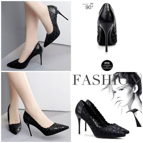 Sepatu Pesta Black Chanel jual shh9111 black sepatu heels pesta elegan 10cm grosirimpor
