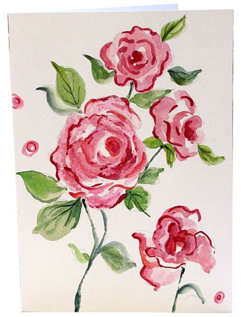 hand painted rose watercolor greeting cards pink roses