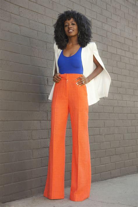 Cape Blazer Orange cape blazer bodysuit high waist trousers style