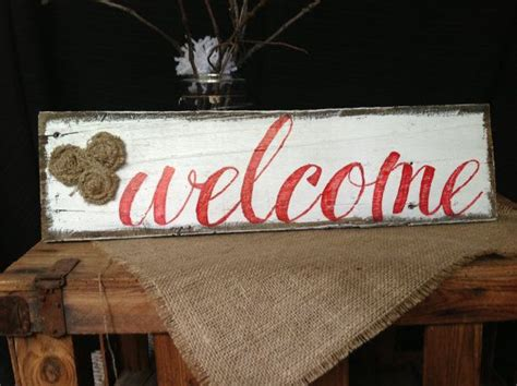 Handmade Welcome Signs - lovely handmade welcome sign with burlap rosettes