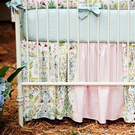 Patchwork Crib Bedding by Birds Crib Skirt Gathered Patchwork Carousel Designs