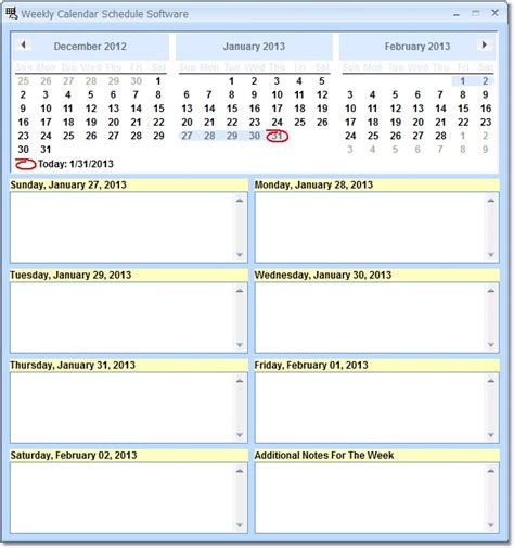 weekly calendar schedule software create to do tasks for