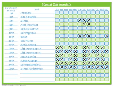 monthly bill organizer calendar template 2016