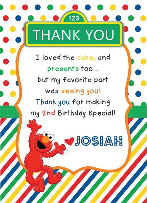 elmo thank you card template elmo birthday ideas photo 18 of 21 catch my
