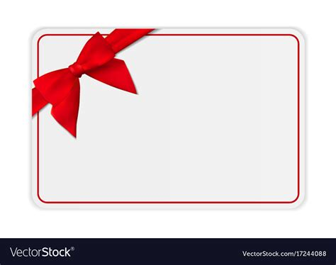 Blank Gift Card Template With Bow And Ribbon Vector Image Present Template