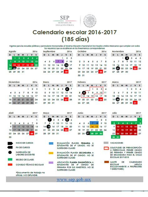 Calendario 2017 Escolar Calendario Escolar 2016 2017 Sep De 200 Y 185 D 237 As
