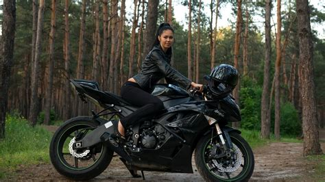 black motorcycle and girls on stylish bike hd wallpaper images