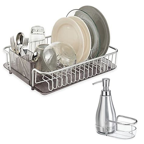 bed bath and beyond dish drying rack interdesign 174 metro aluminum dish rack and soap dispenser