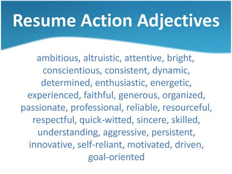 Adjectives To Use On Resume