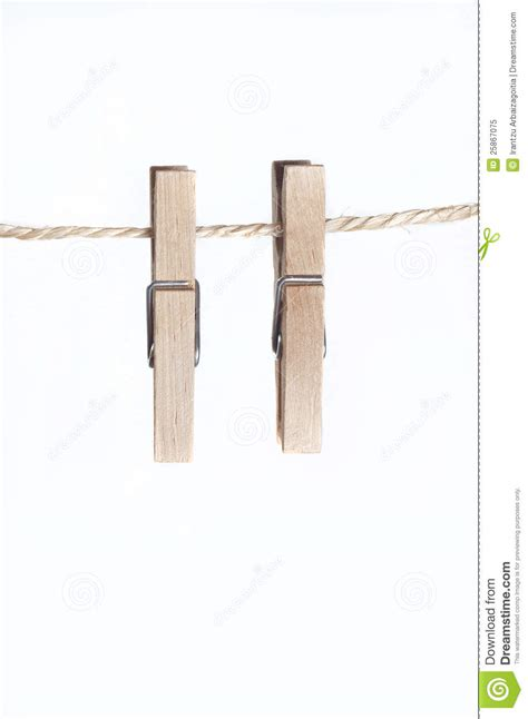 two cls for laundry hanging on a string stock image