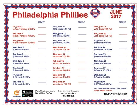 Phillies 2017 Printable Schedule printable 2017 philadelphia phillies schedule