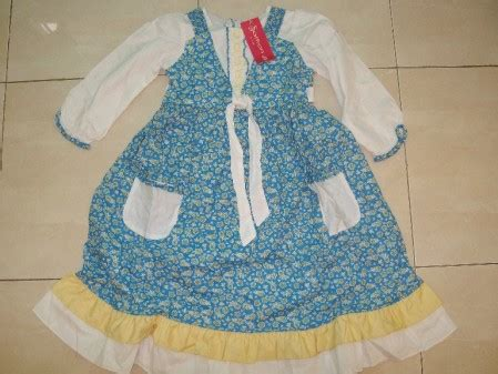 Dress Anak Alika Polka Pita Bunga dress muslim safron bunga biru 4 6 8 10t berkahshop
