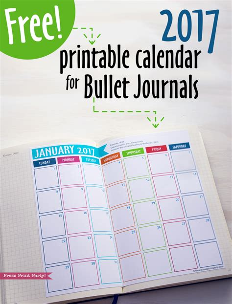 printable journal calendar 2016 free printables archives page 2 of 3 press print party