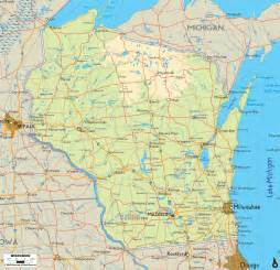 wisconsin map physical map of wisconsin ezilon maps