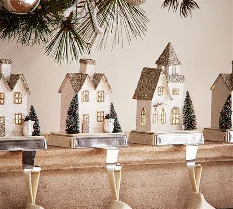 Dining Room Tables Pottery Barn lit german glitter village houses stocking holders