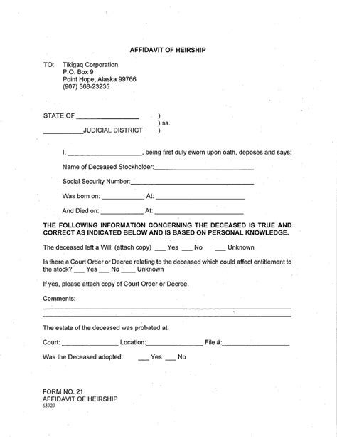 Free Alaska Affidavit Of Heirship Form Pdf 218kb 6 Page S Affidavit Of Heirship Template