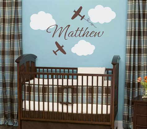 Baby Boy Nursery Wall Decor Ideas Airplane Wall Decals Airplane Cloud And Personalized By Wallartsy