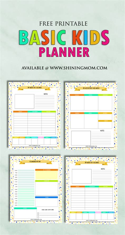 printable planner free free printable kids planner cute and colorful