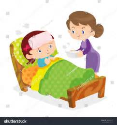 how to take in bed taking temperature sick home stock vector