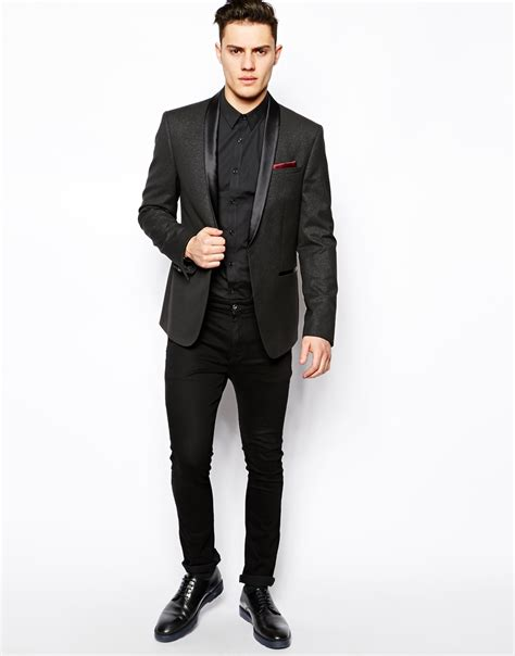 Blazer Style Black 59 lyst asos fit blazer in silver fleck in black for