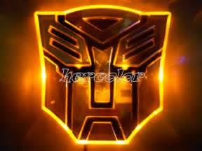 Lighting Car Decal Led Transformers Autobot 3d Logo Emblem Badge Decal Car