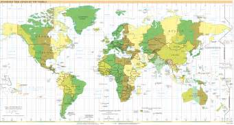 Time Zone Map Of The World by International Time Zones
