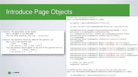 page object pattern coded ui behavior driven web ui automation with selenium and