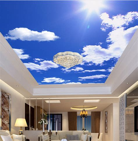 Custom Ceiling Wallpaper Blue Sky And White Clouds For Sky Ceiling Wallpaper