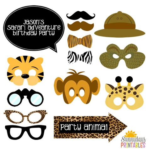 instant download animal print photo booth props safari safari photo booth props giraffe mask tiger mask monkey