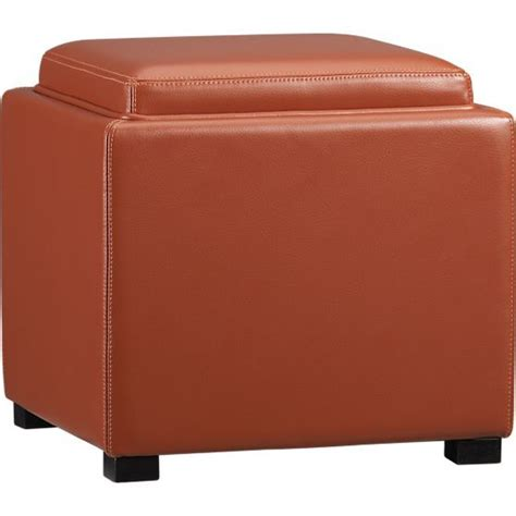 Orange Storage Ottoman Stow Persimmon 17 5 Quot Leather Storage Ottoman