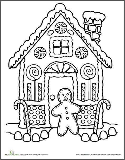 detailed gingerbread house coloring pages education com printable worksheets online games and more