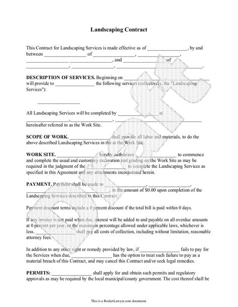 Landscaping Contract Template Outdoor Goods Landscaping Contract Template
