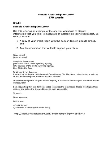 Credit Dispute Letter Template Crna Cover Letter Credit Dispute Template