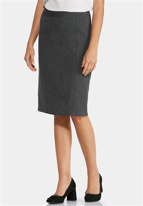 charcoal ponte pencil skirt plus below the knee cato fashions
