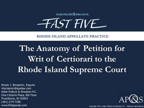 Rhode Island Judiciary Search Anatomy Of A Petition For Writ Of Certiorari To The Rhode Island Supr