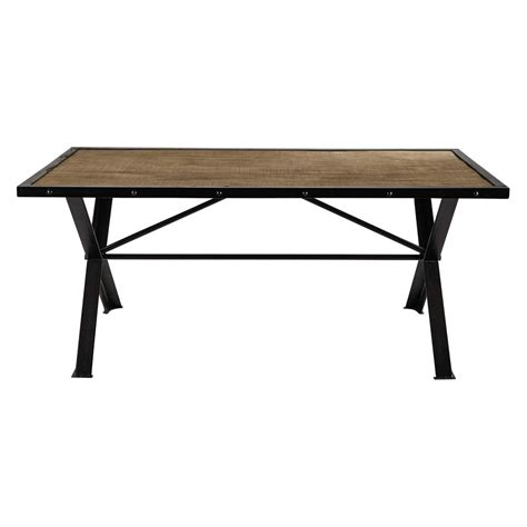L For Dining Table Solid Mango Wood And Riveted Metal Dining Table L 180cm Factory Maisons Du Monde