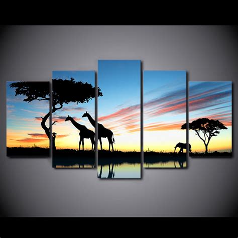 pieces for living room new 5 pieces sets canvas hd africa landscape safari living room decorations for home wall