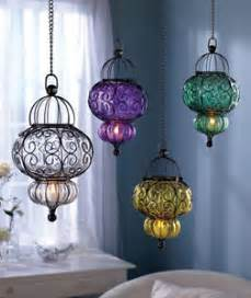 Hanging Tea Light Chandelier Hanging Metal Blown Glass Pendant Led Candle Tea Light