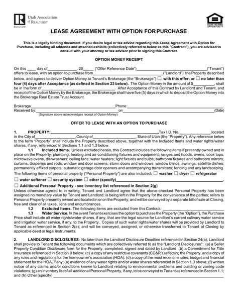 lease with option to buy agreement template free utah lease agreement with option to purchase form