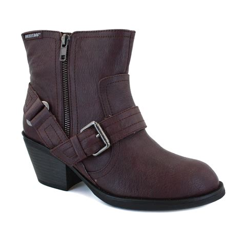 rocket roger womens zip synthetic leather buckle ankle