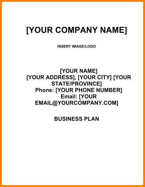 business plan title page template business plan title page template 9 exles of a business